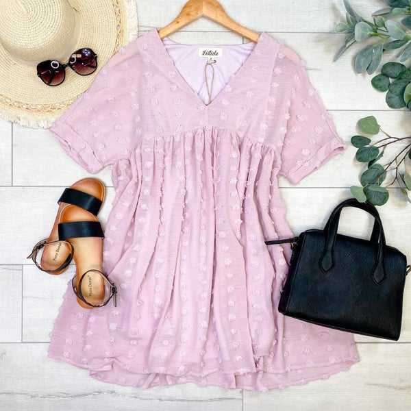 *Kendra's Collection* Textured V-Neck Babydoll Tunic Dress, Light Pink *Final Sale*