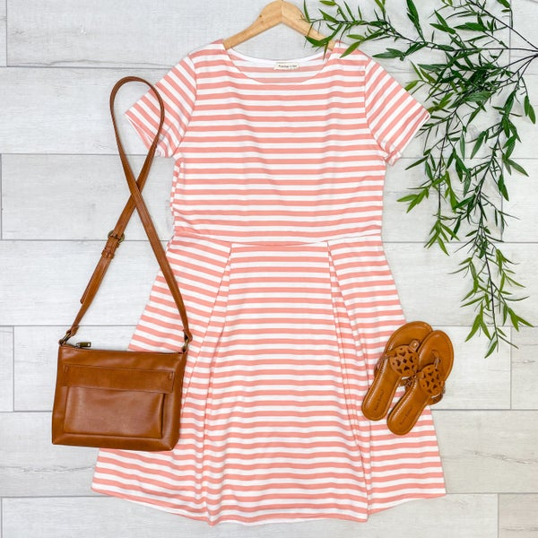 *PLUIS* Striped Babydoll Dress, Coral