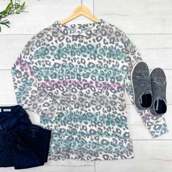 Brushed Knit Leopard Print Tunic Top, Pink/Teal