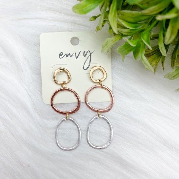 Multi Metal Circle Dangle Earrings