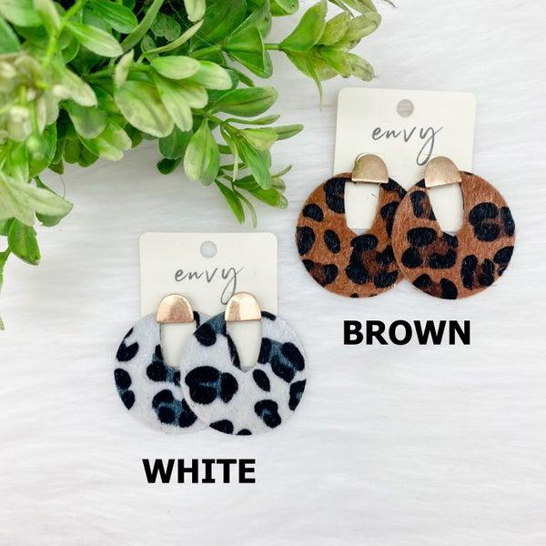 Animal Print Circle Earrings