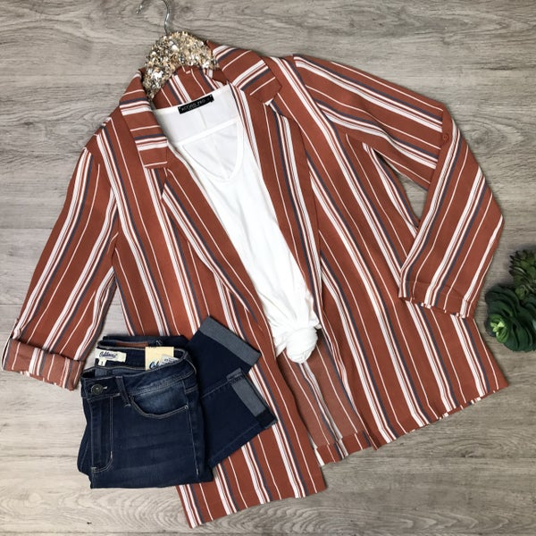 Open Front Jacket w/Rolled Sleeves, Rust