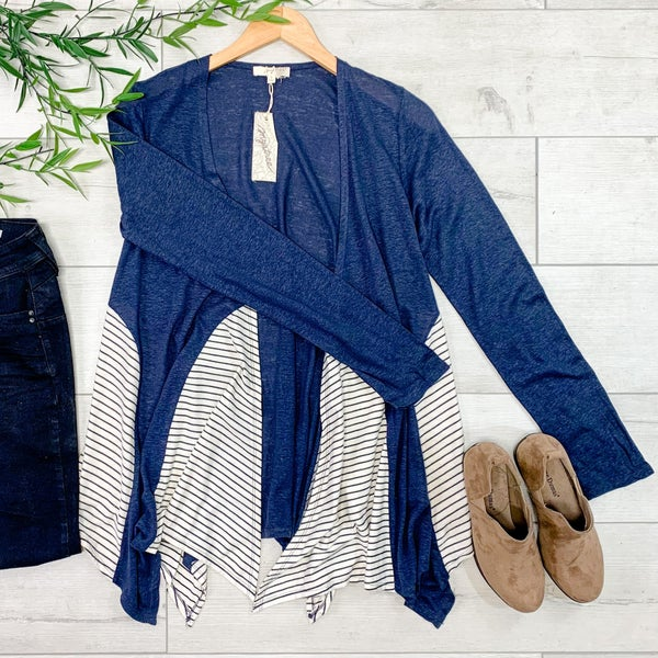 Contrast Striped & Solid Cardigan, Navy *Final Sale*