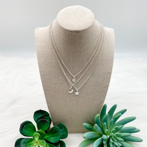 Three Short Moon + Star Necklace Set *Final Sale*
