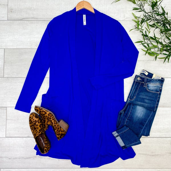 Long Sleeve Solid Lightweight Cardigan w/ Pockets, Denim Blue