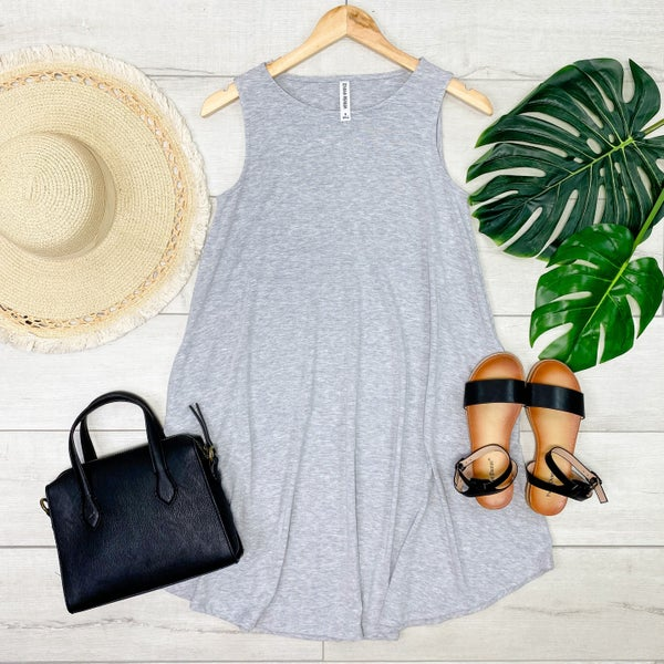 Solid Sleeveless Round Hem Dress, Heather Gray [[LIVE]]