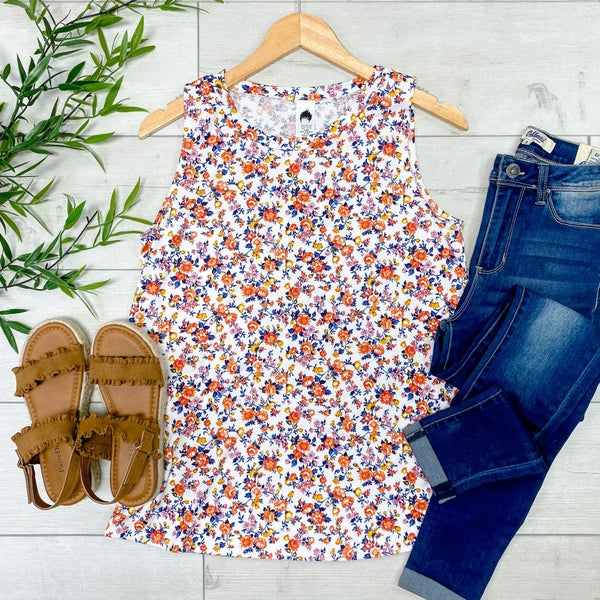 Small Floral Print Tank, Ivory
