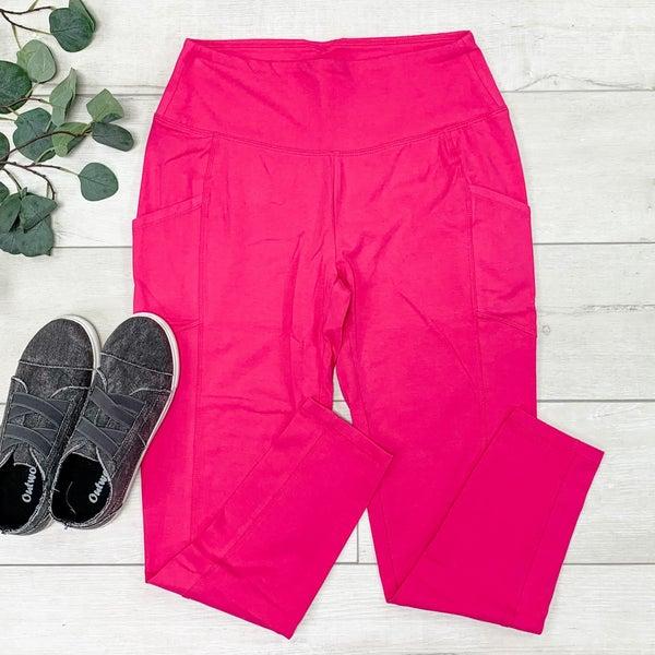 Athletic Leggings w/Pockets, Hot Pink