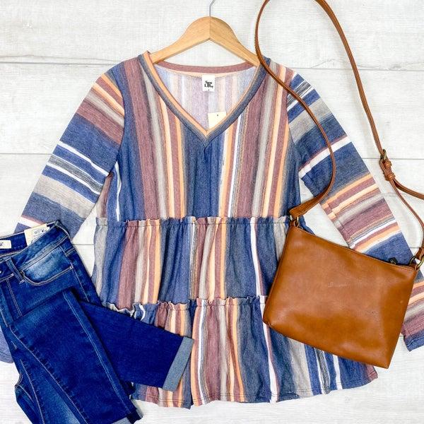 *Kendra's Collection* [[PRE-SALE]] Striped Ruffle Peplum Tunic