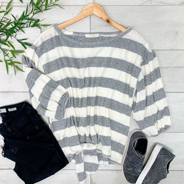Striped Knit Bubble Sleeve Top, Ivory