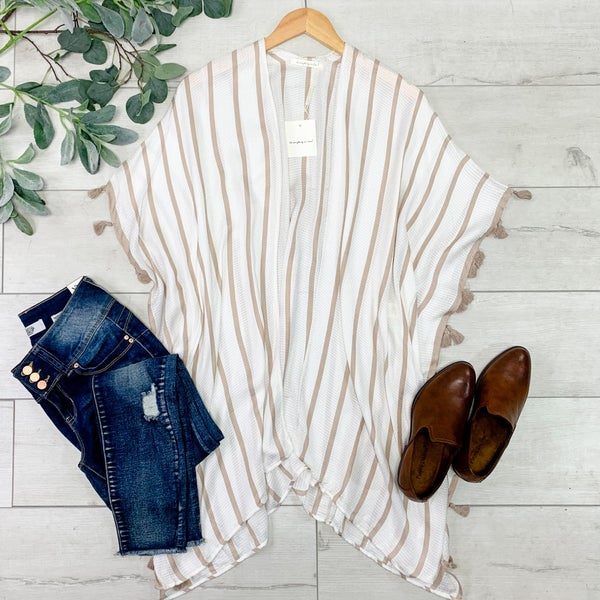 Stripe Kimono with Tassels, Beige