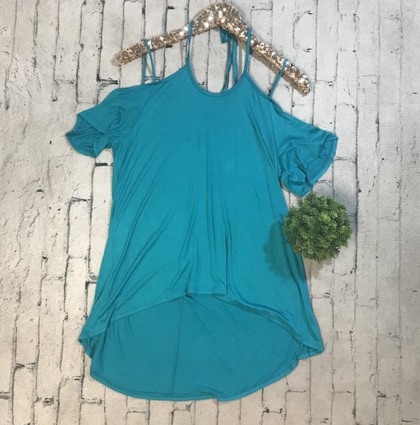 Strappy Cold Shoulder High Low Tunic Top, Teal *Final Sale*