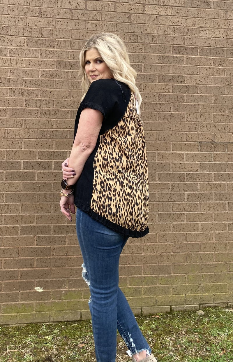 Black top with Leopard Back