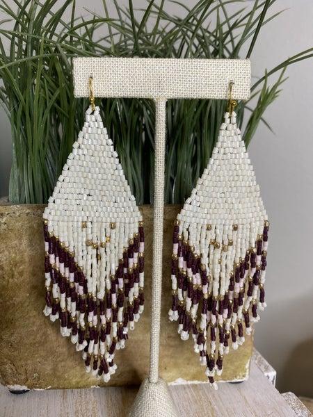 White and Marroon Beaded earrings