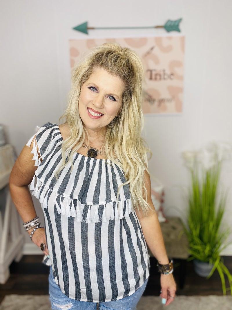 Missy striped top with tassel trim