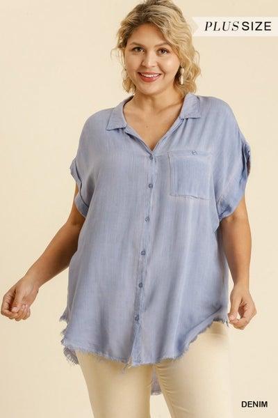Denim blue  washed top with fringe