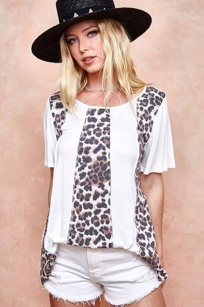 Colorblock Leopard Shirt