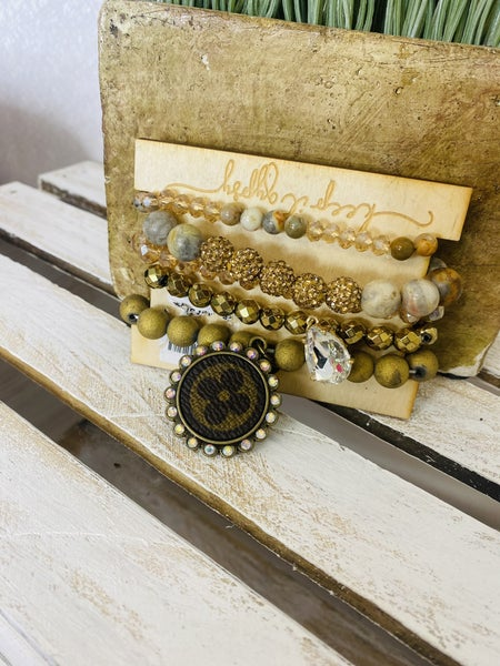 Gold Designer Inspired Stretch bracelet