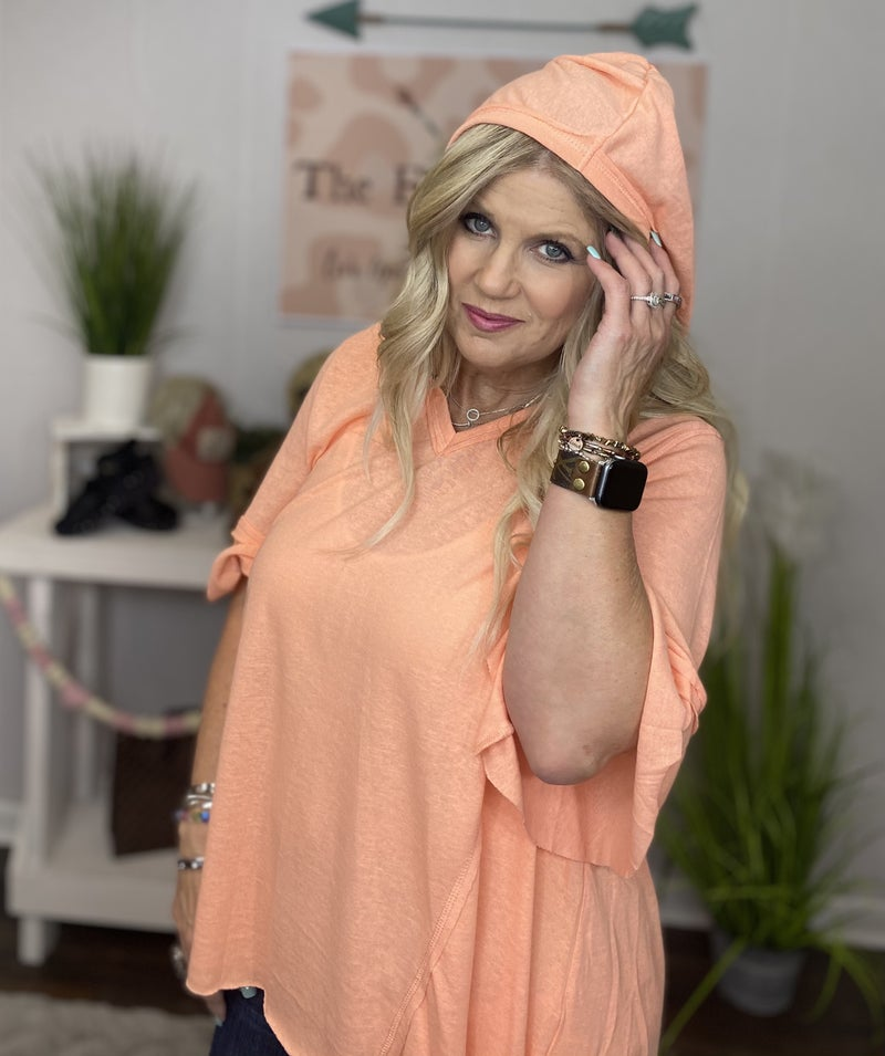 Lightweight Coral Hoodie with Flutter Sleeve