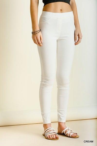White Denim Leggings with elastic waistband