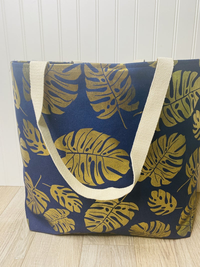 Navy Palm Tote