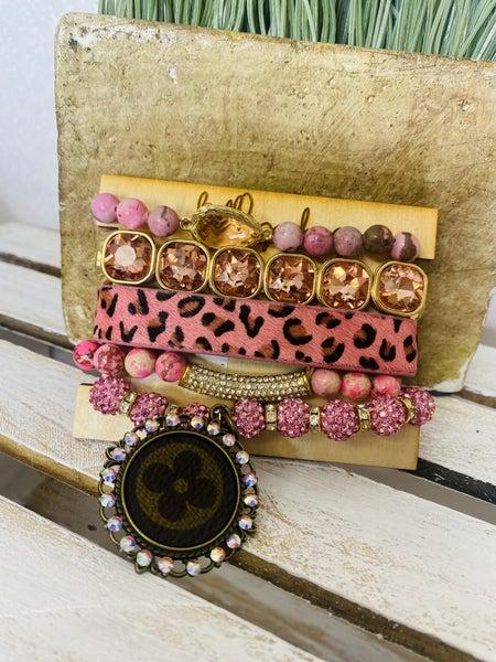 Pink Cheetah Upcycled Stretch Bracelet