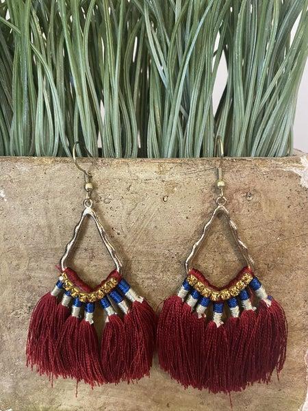 Crimson Fringe earrings