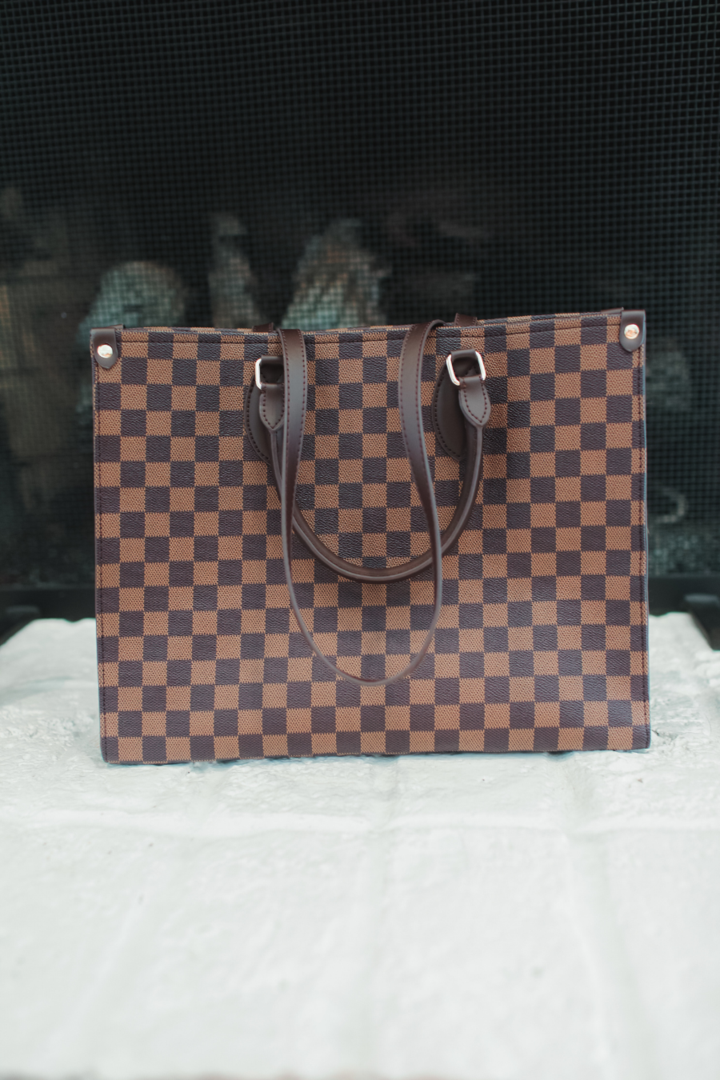 Inspired Tiffany checkered tote