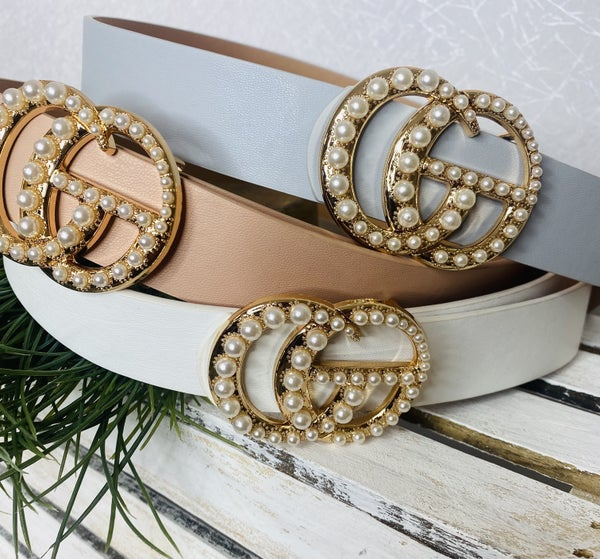 Designer Inspired Belts with Pearl Buckle