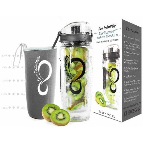 Time marker water bottle with infuser and insulated sleeve
