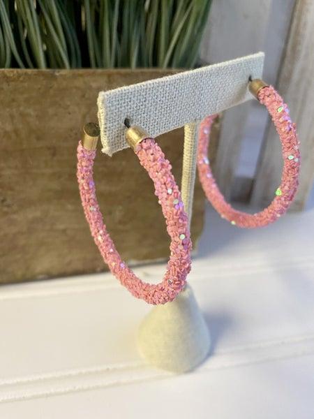 Pink Shimmer Hoops