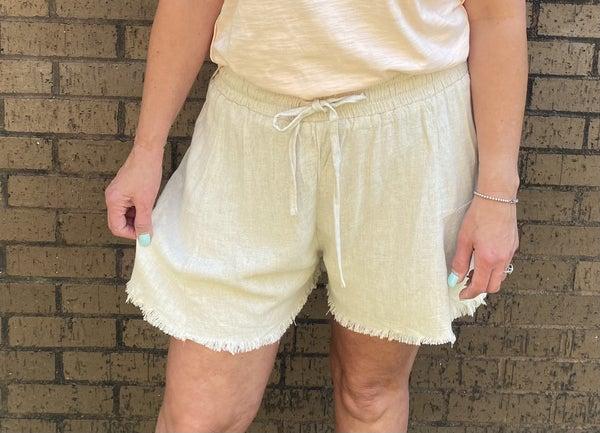 Linen Blend Elastic Waist Drawstring Shorts