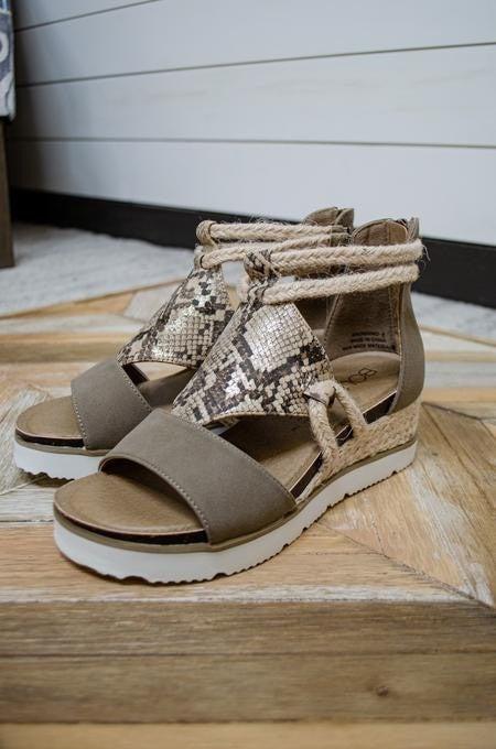 Burlap Bungalow sandal by Corkys