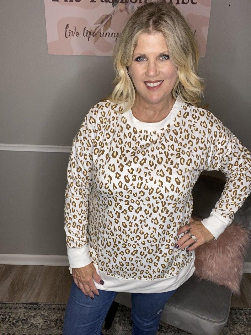 Cream leopard sweatshirt