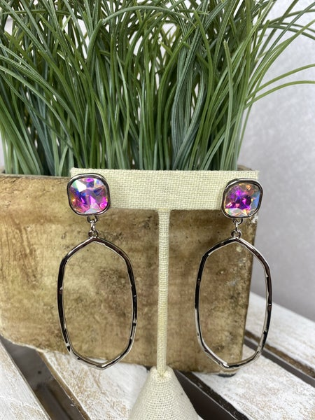 Silver Abstract hoops with AB rhinestone
