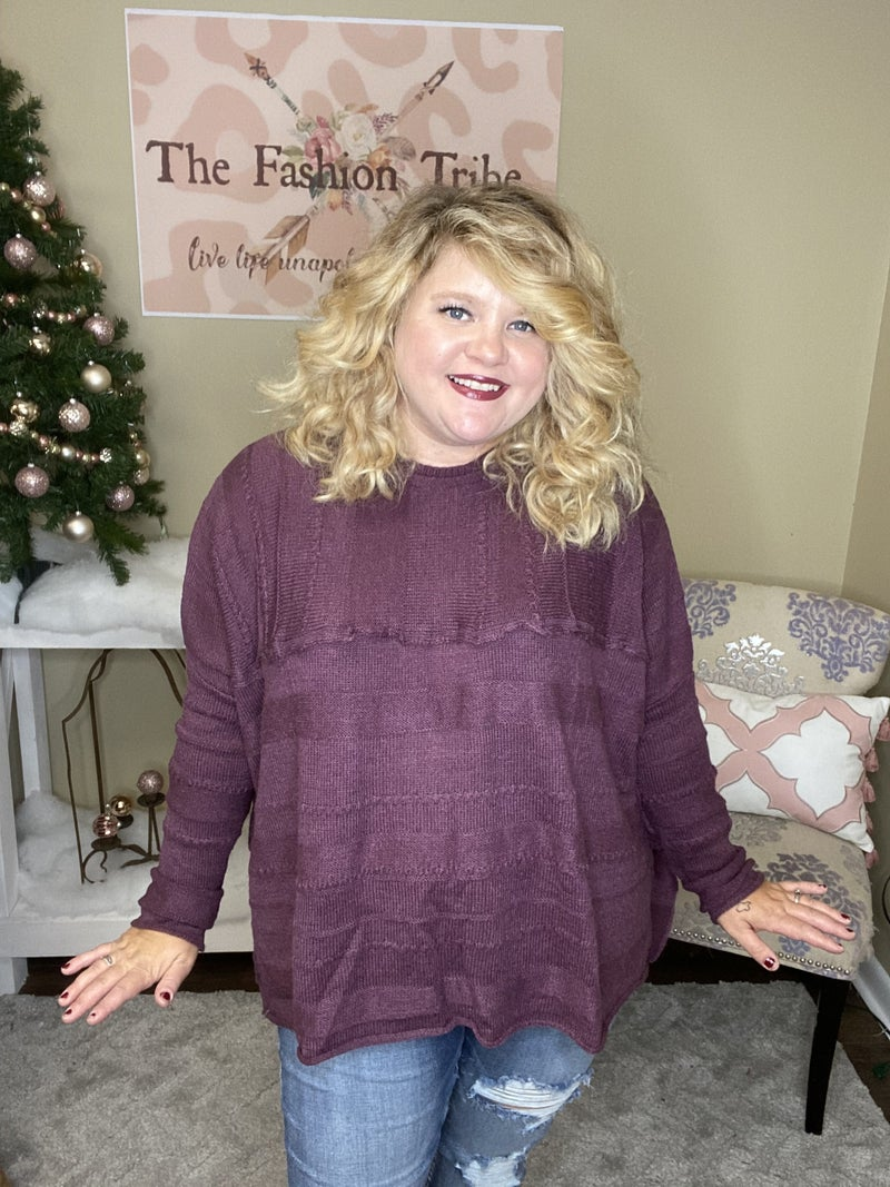 Deep Plum oversized sweater by Easel