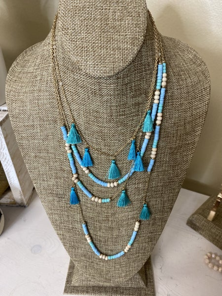 Teal and Turq Tassel necklace