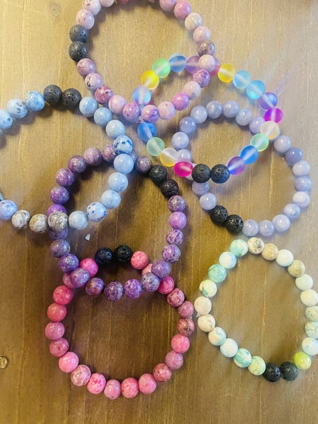 Stone diffuser stretch bracelet