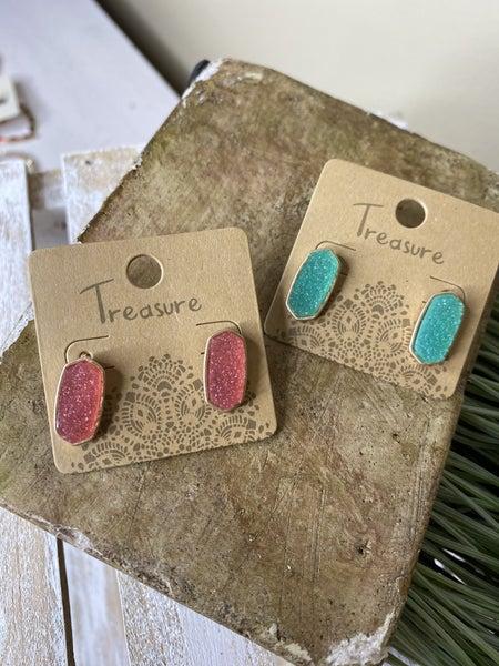 Spring vibes druzy stud earrings