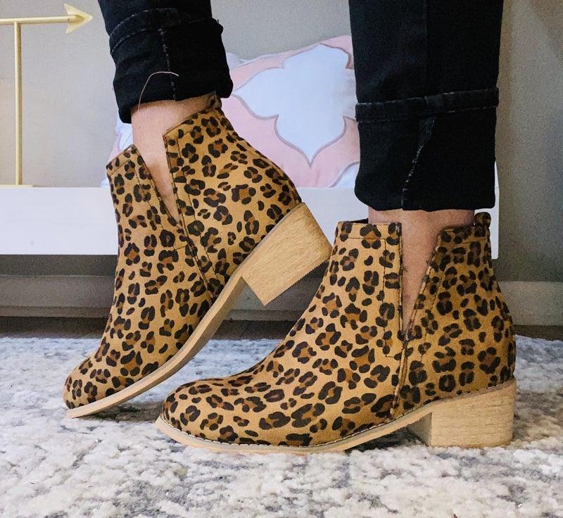 Corkys Suede Leopard Bootie
