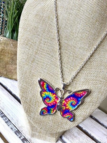 Tie dye butterfly necklace