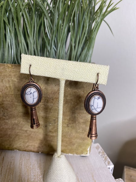 Copper squash blossom earrings with white stone