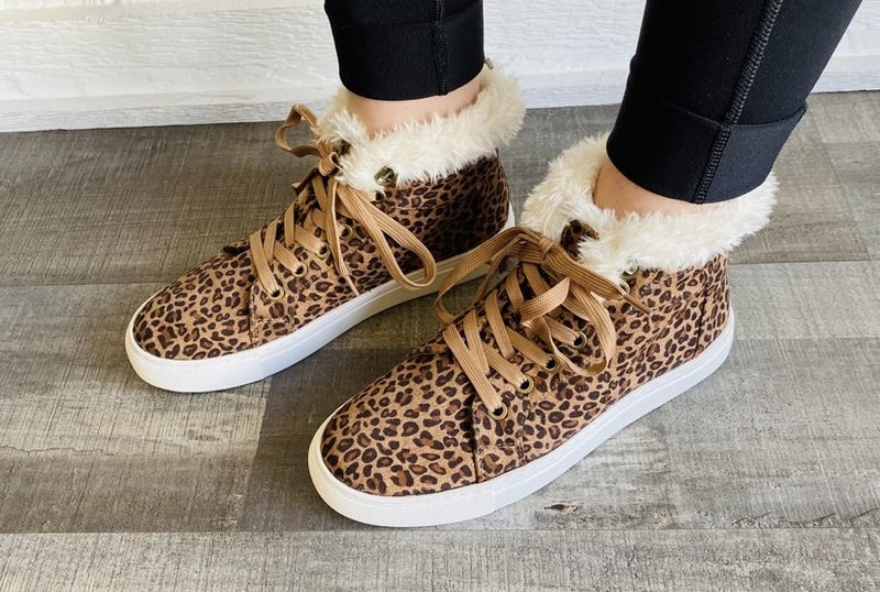 Leopard tennis shoe with fur by Corkys