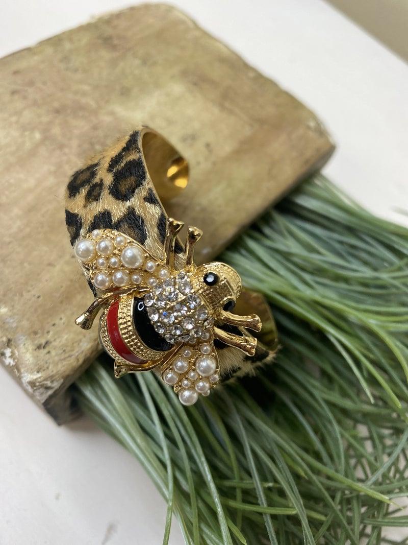 Bee Cuff bracelet with fur leopard