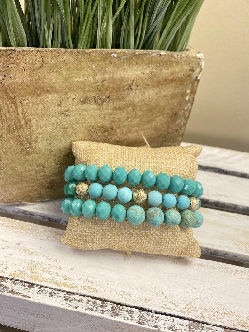 Turquoise 3 strand stretch bracelet