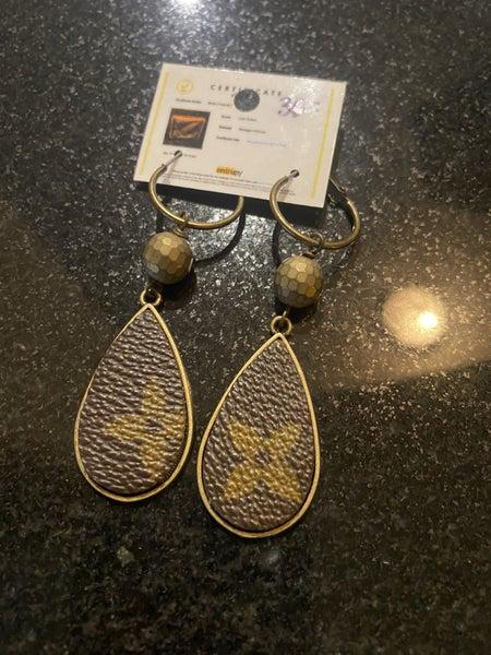 Upcycled bronze teardrop earrings