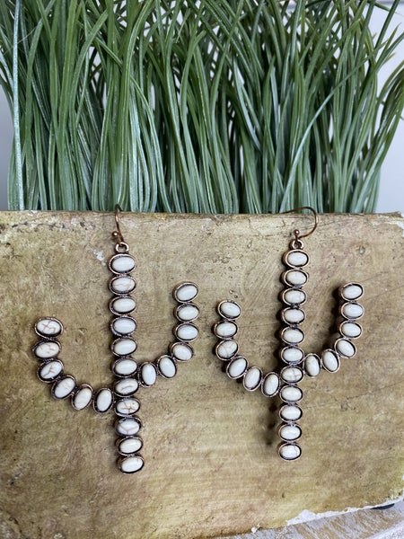 Copper Cactus and white stone earrings