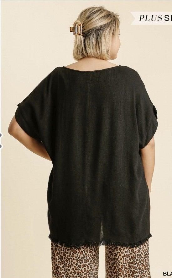 Simply Black top with Frayed hem