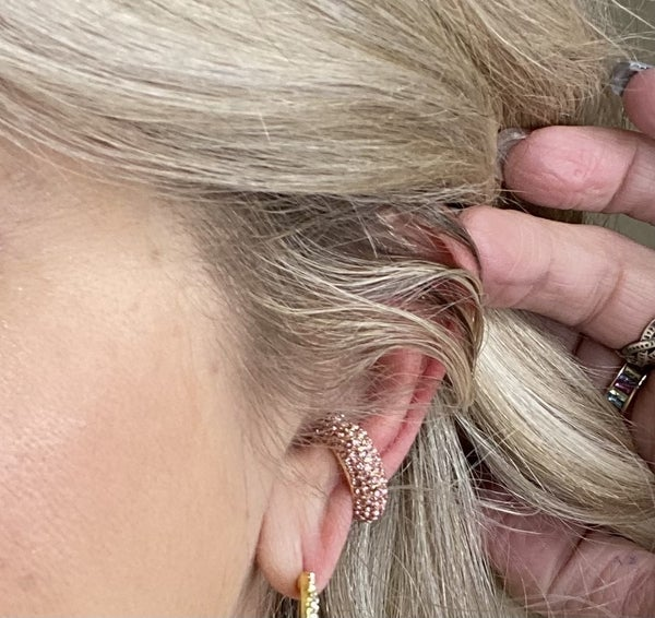 Pink Rhinestoned Ear Cuff
