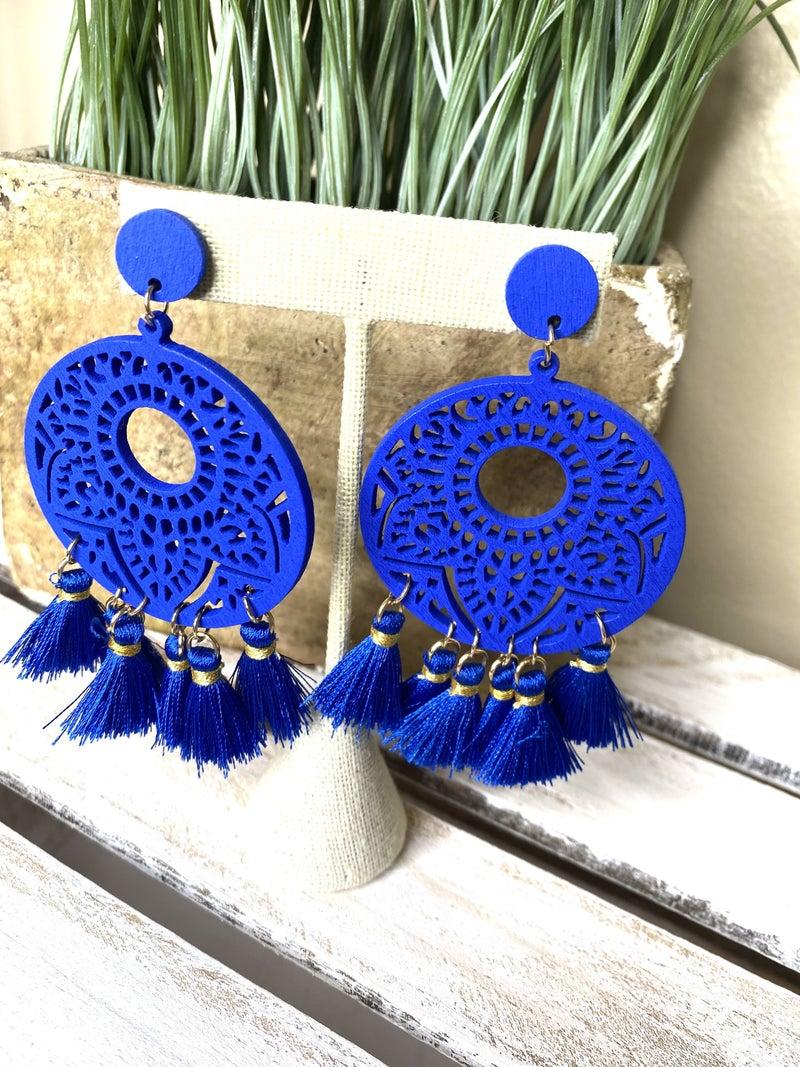 Blue wooden tassel boho earring
